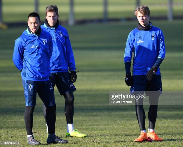Bobby Wood Sven Schipplock and JannFiete Arp of Hamburg look on during a training session of Hamburger SV at Volksparkstadion on February 14 2018 in...