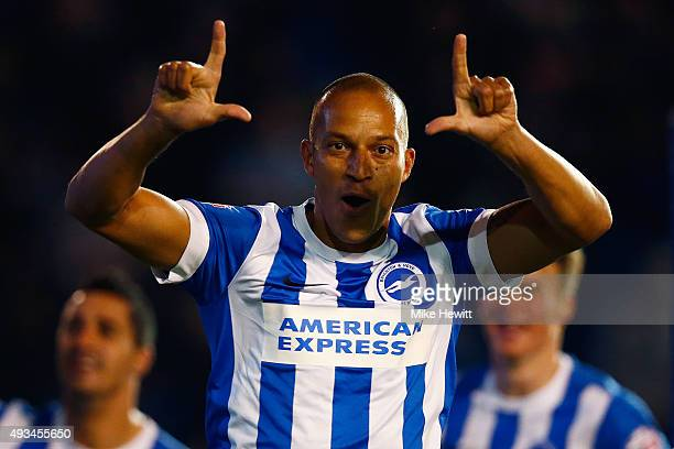 Bobby Zamora of Brighton celebrates after scoring the winner during the Sky Bet Championship match between Brighton Hove Albion and Bristol City at...