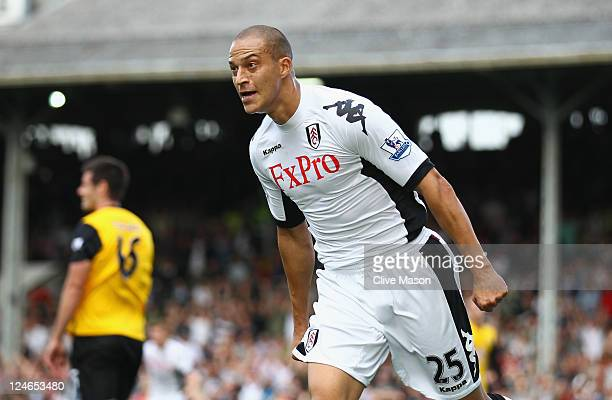 Bobby Zamora of Fulham celebrates his goal during the Barclays Premier League match between Fulham and Blackburn Rovers at Craven Cottage on...