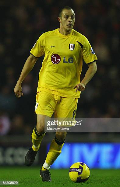 Bobby Zamora of Fulham in action during the Barclays Premier League match between Sunderland and Fulham at the Stadium of Light on January 27 2009 in...