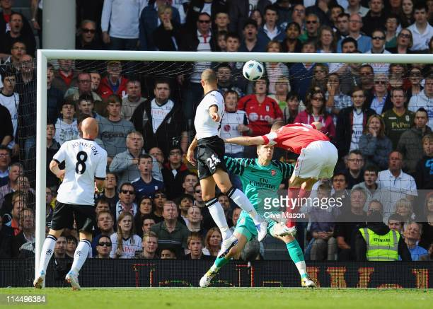 Bobby Zamora of Fulham scores during the Barclays Premier League match between Fulham and Arsenal at Craven Cottage on May 22 2011 in London England