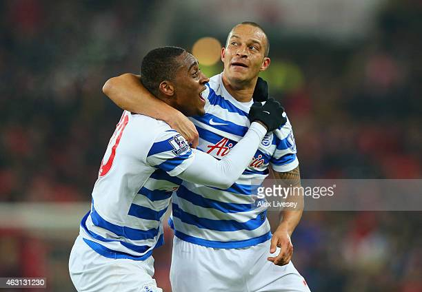 Bobby Zamora of QPR celebrates scoring their second goal with Leroy Fer of QPR during the Barclays Premier League match between Sunderland and Queens...