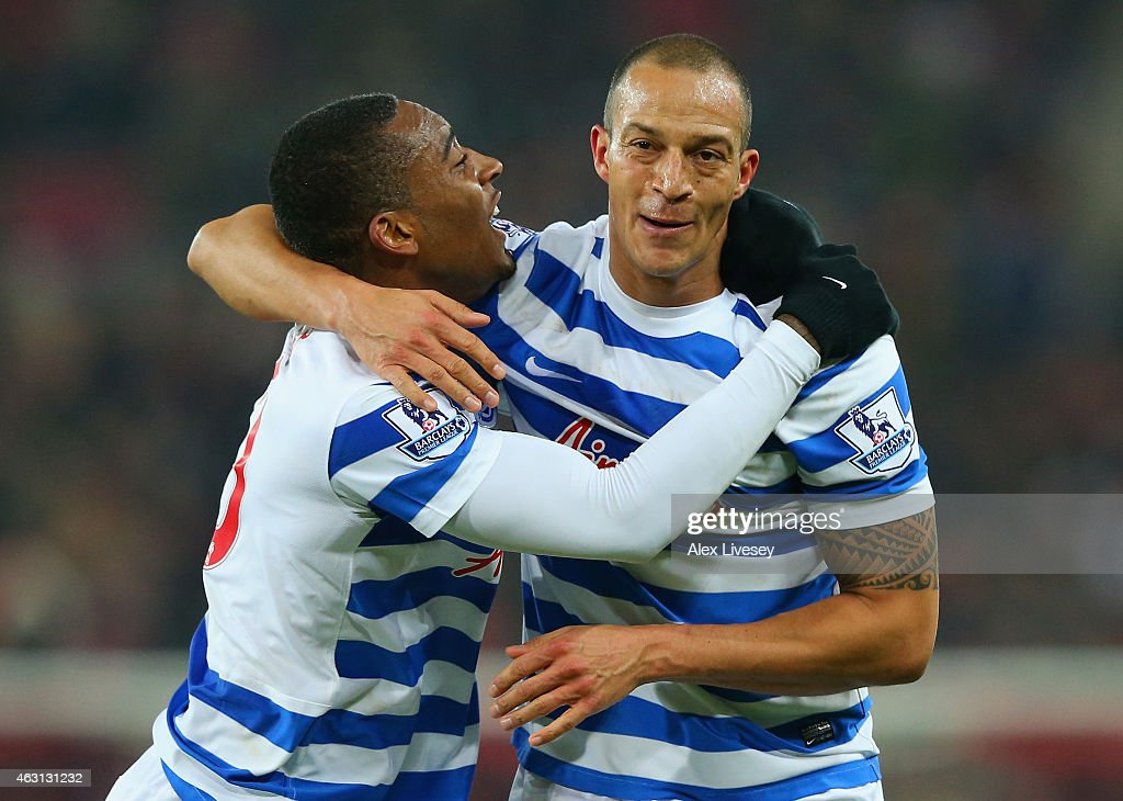 Bobby Zamora of QPR (R) celebrates scoring their second goal with Leroy Fer of QPR during the Barclays Premier League match between Sunderland and Queens Park Rangers at Stadium of Light on February 10, 2015 in Sunderland, England.