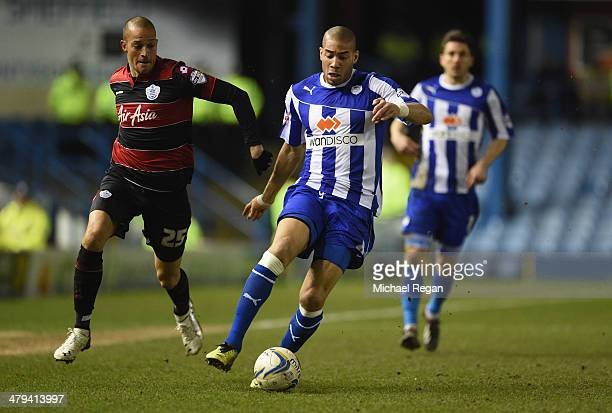 Bobby Zamora of QPR in action with Oguchi Onyewu of Sheffield Wednesday during the Sky Bet Championship match between Sheffield Wednesday and Leeds...
