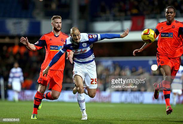 Bobby Zamora of QPR looks to chase down the ball during the Sky Bet Championship match between Queens Park Rangers and Bolton Wanderers at Loftus...
