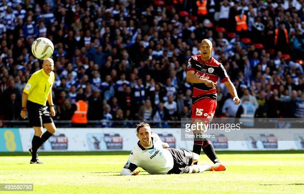 Bobby Zamora of QPR scores the winning goal during the Sky Bet Championship Playoff Final match between Derby County and Queens Park Rangers at...
