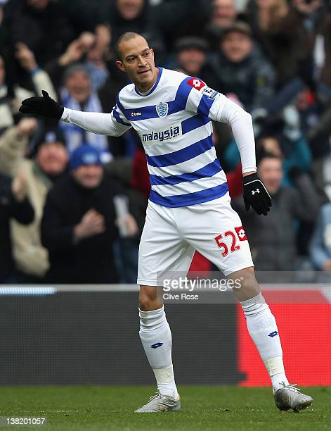 Bobby Zamora of Queens Park Rangers celebrates scoring the opening goal during the Barclays Premier League match between Queens Park Rangers and...
