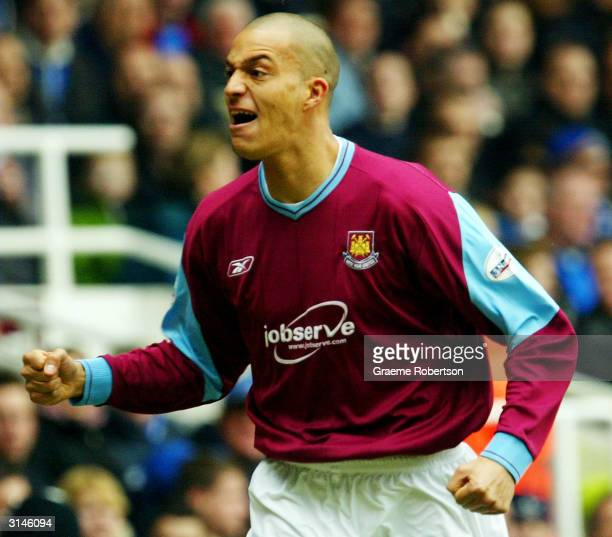 Bobby Zamora of West Ham celebrates his goal during the Nationwide Division One match between West Ham United and Gillingham at Upton Park on March...