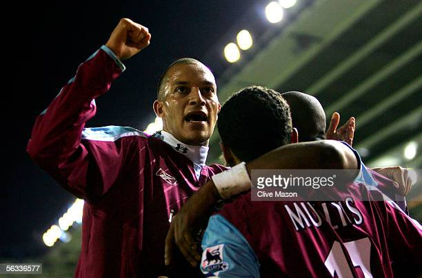 Bobby Zamora of West Ham celebrates the goal of Marlon Harewood during the Barclays Premiership match between Birmingham City and West Ham United at...