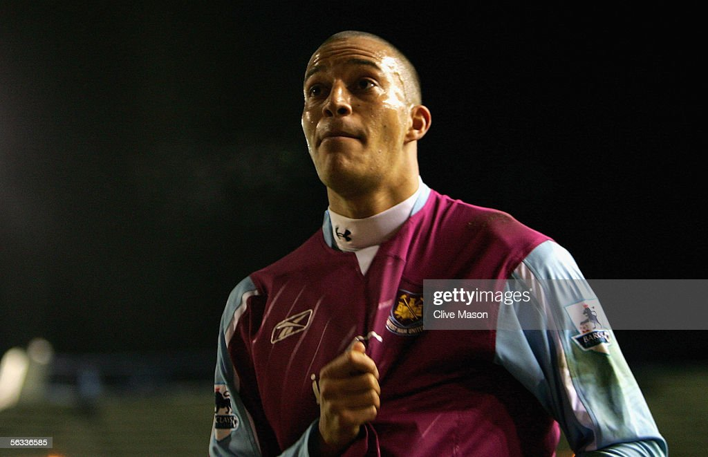 Bobby Zamora of West Ham celebrates the goal of Marlon Harewood during the Barclays Premiership match between Birmingham City and West Ham United at St Andrews Road on December 5, 2005 in Birmingham, England.