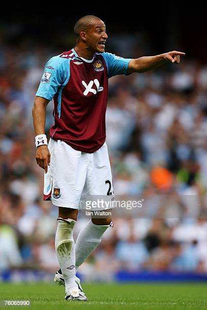 Bobby Zamora of West Ham in action during the Barclays Premiership match between West Ham United and Manchester City at Upton Park on August 11 2007...