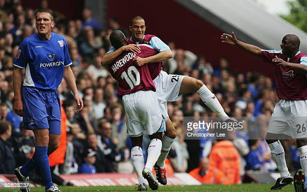 Bobby Zamora of West Ham United celebrates after scoring their second goal during the Coca-Cola Championship First Leg Play off match between West...