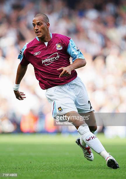 Bobby Zamora of West Ham United in action during the Barclays Premiership match between West Ham United and Newcastle United at Upton Park on...