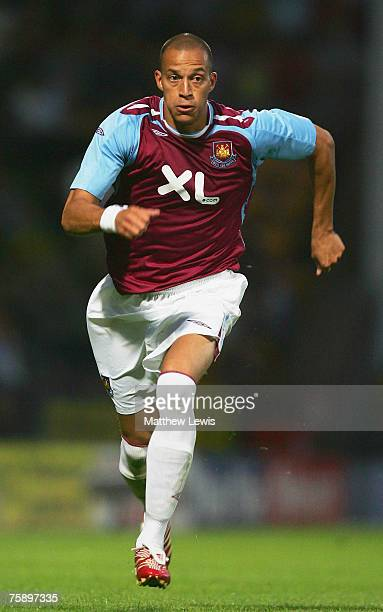 Bobby Zamora of West Ham United in action during the Pre Season Friendly match between Norwich City and West Ham United at Carrow Road on July 31...