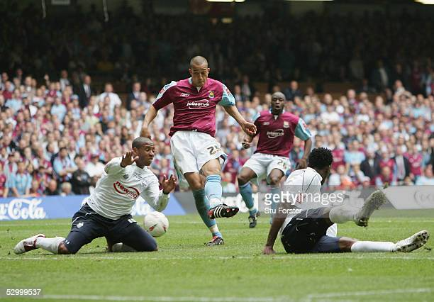 Bobby Zamora scores the first goal for West Ham during the Coca Cola Championship Play Off Final match between Preston North End and West Ham United...