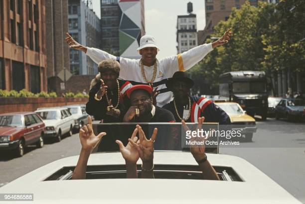 Bobcat, Cut Creator, LL Cool J, and E-Love take a ride in a limousine in New York City during the filming of the video for LL Cool J's single, 'I...
