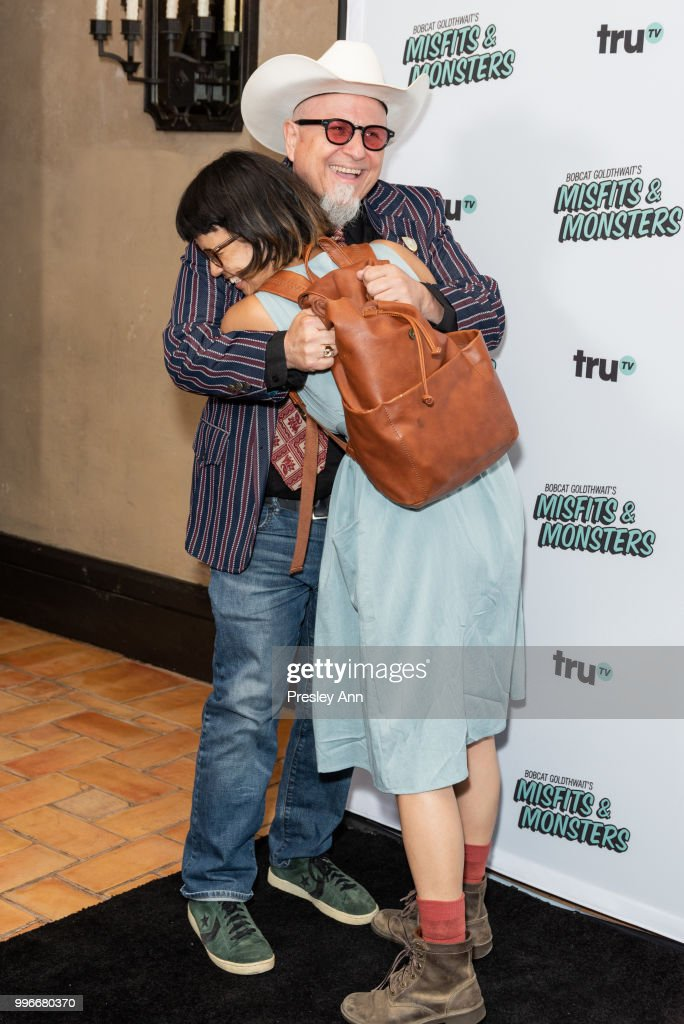 Bobcat Goldthwait and Charlyne Yi attend the premiere of truTV's 'Bobcat Goldthwait's Misfits & Monsters' at Hollywood Roosevelt Hotel on July 11, 2018 in Hollywood, California.