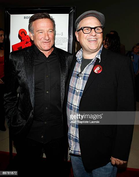 """Bobcat Goldthwait and Robin Williams arrive at the Los Angeles premiere of """"World's Greatest Dad"""" at the Landmark Theater on August 13, 2009 in Los..."""