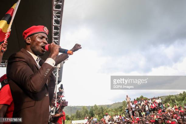 Bobi Wine, aka Robert Kyagulanyi, speaks during a rally in Hoima. Wine aka Robert Kyagulanyi, campaigned in Hoima ahead of a by-election. It was the...