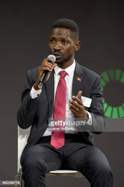 Bobi Wine speaks at Goalkeepers 2017 at Jazz at Lincoln Center on September 20 2017 in New York City Goalkeepers is organized by the Bill Melinda...