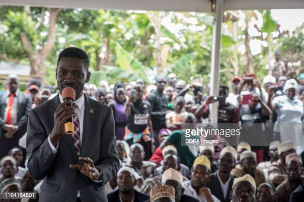 Bobi Wine speaks during a campaign event in Gombe Bobi Wine whose real name is Robert Kyagulanyi a popstar and opposition leader under the people...