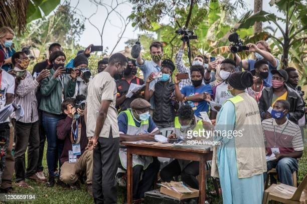 Bobi Wine, the musician and presidential candidate whose real name is Robert Kyagulanyi, votes in Magere, on the outskirts of Kampala during the...