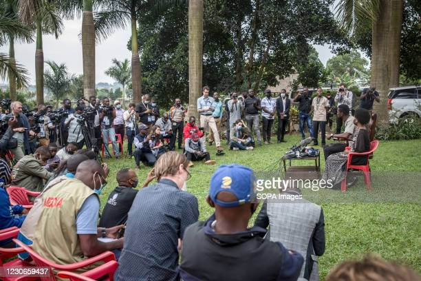 Bobi Wine, the musician and presidential candidate whose real name is Robert Kyagulanyi, speaks at a press conference with his wife Barbara Itungo,...