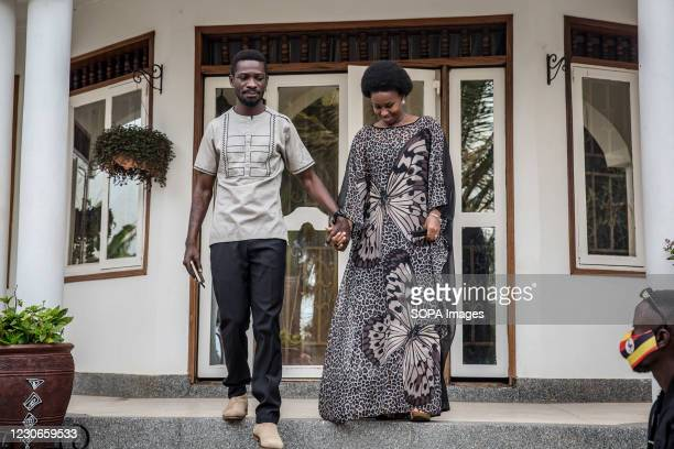 Bobi Wine, the musician and presidential candidate whose real name is Robert Kyagulanyi, and his wife Barbara Itungo are pictured outside their home...