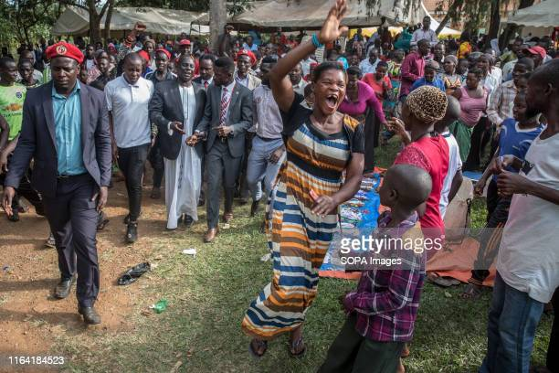 Bobi Wine with supporters during a campaign event in Gombe Bobi Wine whose real name is Robert Kyagulanyi a popstar and opposition leader under the...