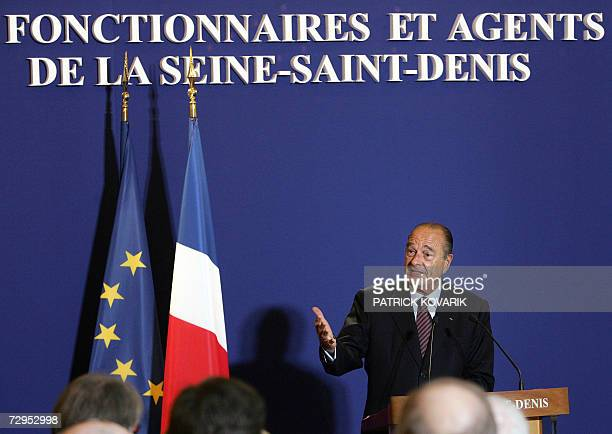 French President Jacques Chirac gives a speech as he presents his New Year Wishes to SeineSaintDenis police officials and civil servants 09 January...