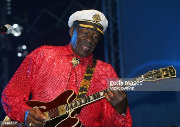 US rock legend Chuck Berry performs on the stage of the Terre Neuvas festival 08 July 2006 in Bobital western France AFP PHOTO ANDRE DURAND