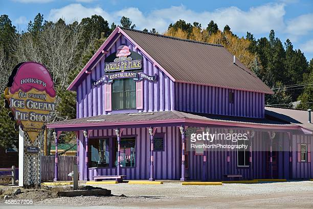 bobkat's purple pie place, custer, south dakota - black hills stock photos and pictures