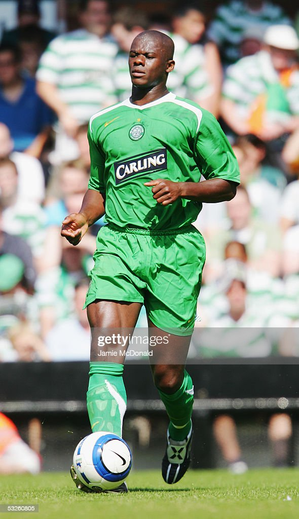 Bobo Balde of Celtic in action during the pre-season match between Fulham and Celtic at Craven Cottage on July 16, 2005 in Fulham, England.