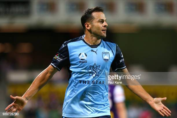 Bobo of Sydney celebrates his second goal during the round 25 ALeague match between the Perth Glory and Sydney FC at nib Stadium on March 29 2018 in...