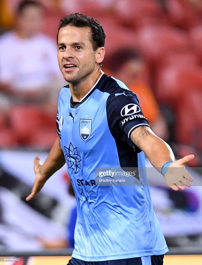 Bobo of Sydney celebrates scoring a goal during the round 15 A-League match between the Brisbane Roar and Sydney FC at Suncorp Stadium on January 8, 2018 in Brisbane, Australia.