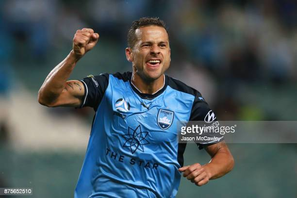 Bobo of Sydney celebrates scoring a goal during the round seven ALeague match between Sydney FC and Newcastle Jets at Allianz Stadium on November 18...
