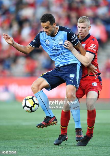 Bobo of Sydney FC and Jordan Elsey of Adelaide United during the round 16 ALeague match between Adelaide United and Sydney FC at Coopers Stadium on...