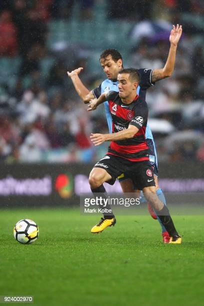 Bobo of Sydney FC and Steven Lustica of the Wanderers compete for the ball during the round 21 ALeague match between Sydney FC and the Western Sydney...