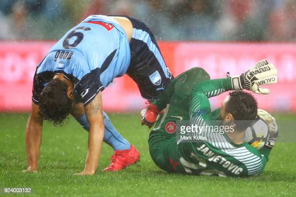 Bobo of Sydney FC and Vedran Janjetovic of the Wanderers get in a tangle in front of goal during the round 21 ALeague match between Sydney FC and the...