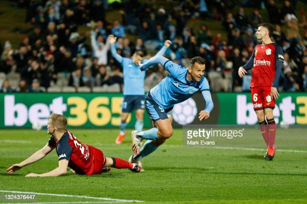 Bobo of Sydney FC celebrates a goal during the A-League Semi-Final match between Sydney FC and Adelaide United at Netstrata Jubilee Stadium, on June...