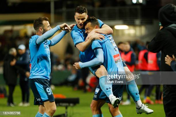 Bobo of Sydney FC celebrates a goal with team mates during the A-League Semi-Final match between Sydney FC and Adelaide United at Netstrata Jubilee...