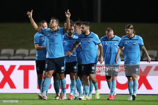 Bobo of Sydney FC celebrates scoring a goal during the A-League match between Sydney FC and the Melbourne Victory at Netstrata Jubilee Stadium, on...