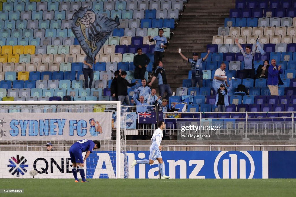 Bobo of Sydney FC celebrates scoring his side's fourth goal during the AFC Champions League Group H match between Suwon Samsung Bluewings and Sydney FC at Suwon World Cup Stadium on April 3, 2018 in Suwon, South Korea.