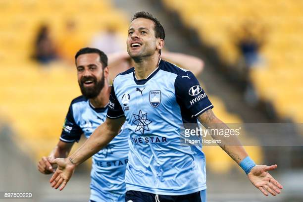 Bobo of Sydney FC celebrates with teammate Alex Brosque after scoring a goal during the round 12 ALeague match between the Wellington Phoenix and...