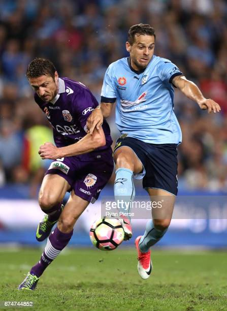 Bobo of Sydney FC competes for the ball against Dino Djulbic of the Glory during the ALeague Semi Final match between Sydney FC and the Perth Glory...