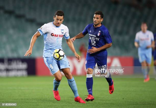 Bobo of Sydney FC is challenged by Cristovam of the Bluewings during the AFC Asian Champions League match between Sydney FC and Suwon Bluewings at...