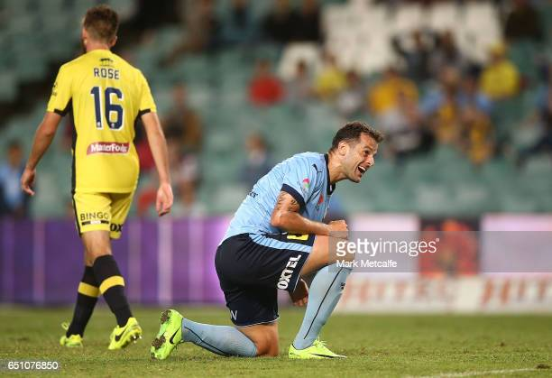 Bobo of Sydney FC reacts to missing an opportunity during the round 23 ALeague match between Sydney FC and the Central Coast Mariners at Allianz...