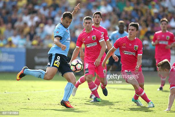 Bobo of Sydney FC scores a goal during the round 14 ALeague match between the Central Coast Mariners and Sydney FC at Central Coast Stadium on...