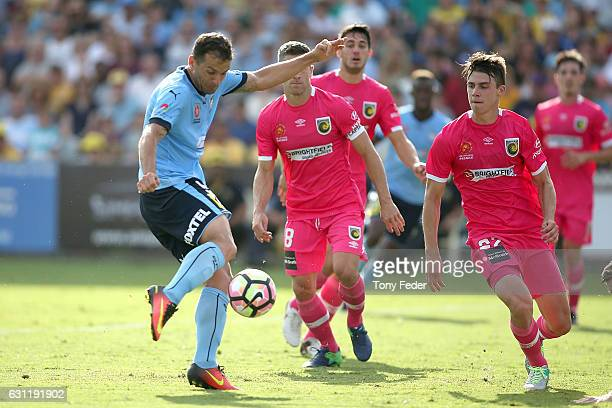 Bobo of Sydney FC scores a goal during the round 14 A-League match between the Central Coast Mariners and Sydney FC at Central Coast Stadium on...