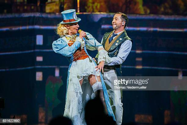Bobo performs with his wife Nancy Baumann at his premiere show of the DJ Bobo 'Mystorial' Tour 2017 at Europapark on January 13 2017 in Rust Germany